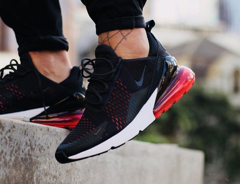 nike air max 270 homme noire et rouge on feet AH8050 013 (3