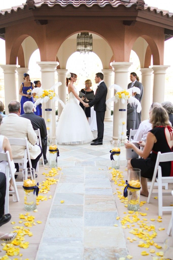 Westin Lake Las Vegas Ceremony, yellow and blue wedding, ceremony arch, wedding ceremony, art deco wedding