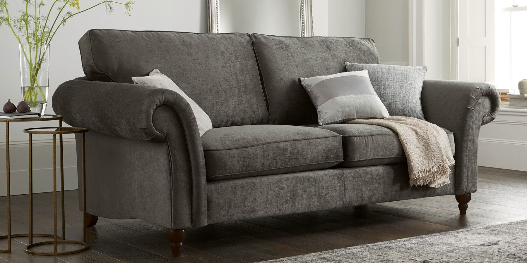 buy gosford medium sofa 3 seats soft marl mid french grey lowturned light from the next uk. Black Bedroom Furniture Sets. Home Design Ideas