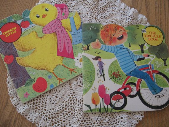 Two Adorable and Retro Vintage Golden Shape Books from the 1970s