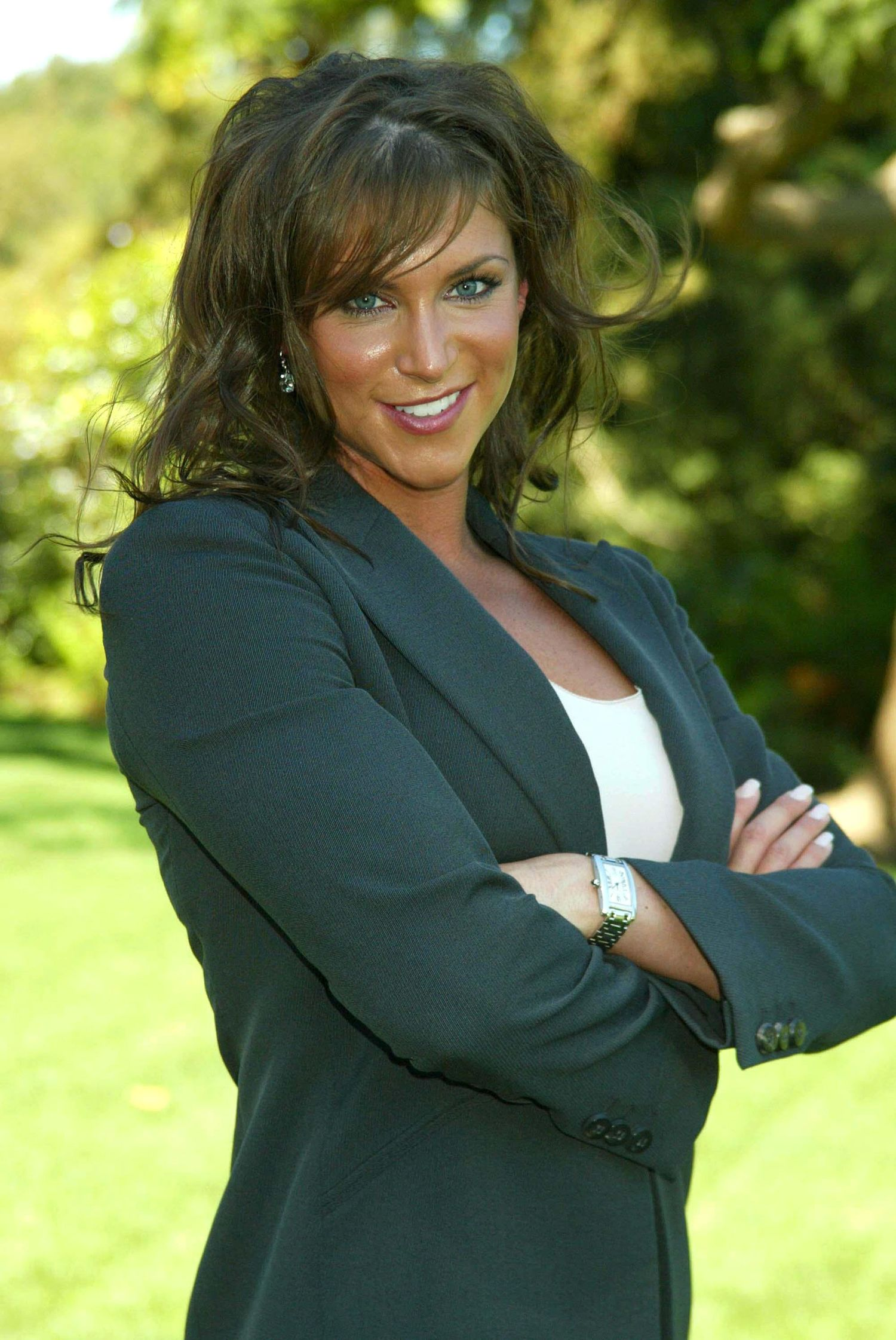 Stephanie McMahon at the Playboy Mansion in 2003 ...