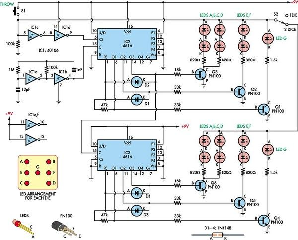 Low-Cost Dual Digital Dice Circuit Diagram | Electronic Circuits ...