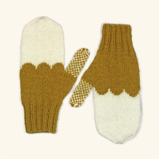 Image of Granliden Mittens: Lichen/Mustard (with thumb pattern)