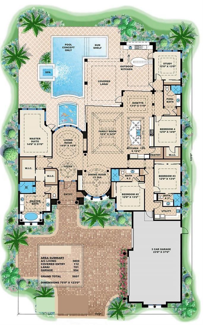 3800 Sq Ft Mediterranean House Floor Plan 4 Bed 4 Bath Mediterranean House Plans Mediterranean Style House Plans Luxury House Plans