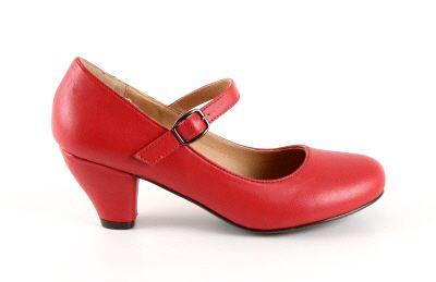 clearance sale outlet for sale exclusive deals Salon Merceditas en Soft Rojo para Niñas con tacon Ancho ...