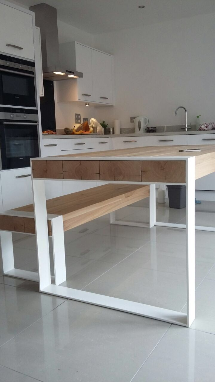 Handmade dining set - steel & timber table with benches | Timber ...