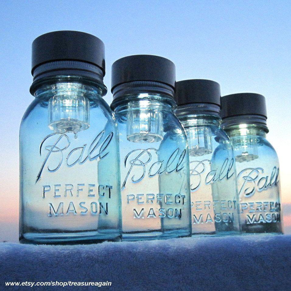 multi color outdoor solar jar design. Mason Jars Solar Lights 4 Outdoor Jar Lighting Antique Blue Ball Garden Multi Color Design G