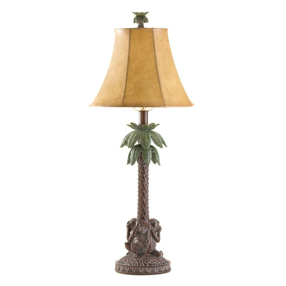 Tropical Monkey Bahama Palm Tree Table Lamp Lamp Tropical Table