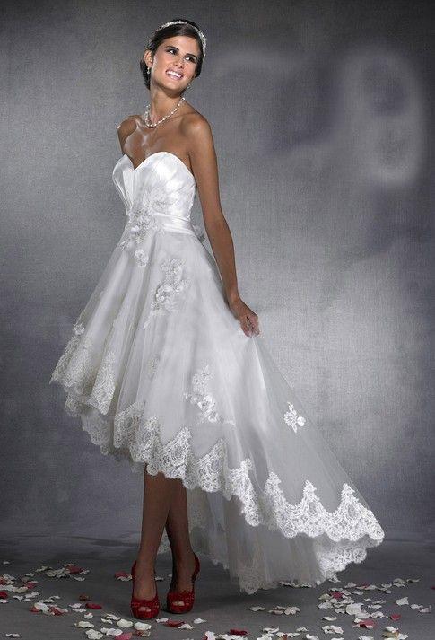 high low wedding dress....Just plain pretty....And no, no wedding bells!