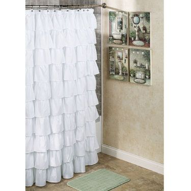 Charmant 23.99 Maribella White Ruffled Shower Curtain