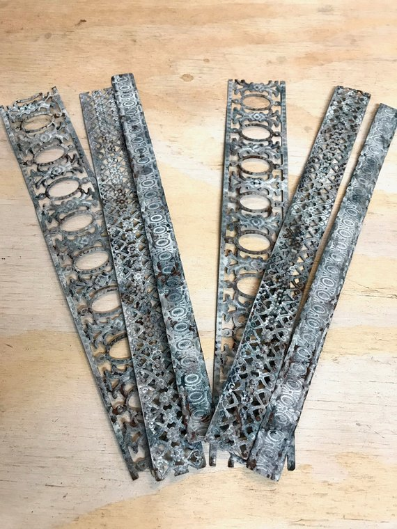 Decorative Metal Ribbon Trim Embossed Tin Metal Embellishments
