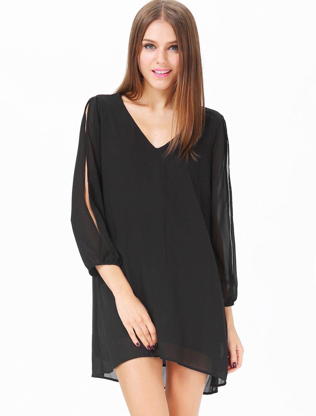 Black v neck long split sleeve loose dress fashion u style