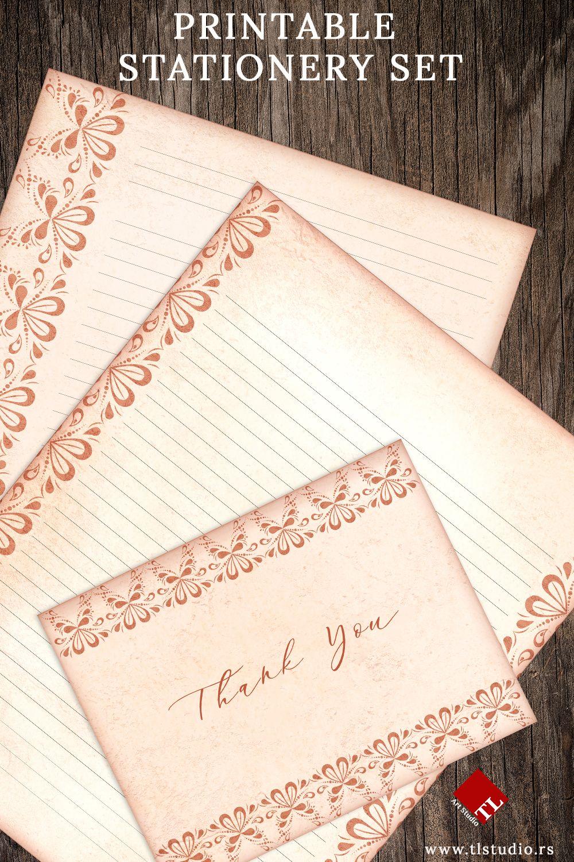 Peach Lace Printable Stationery Set Printable Stationery Stationery Set Folded Note Card