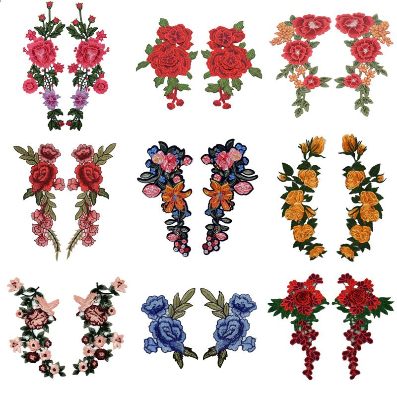Transer 2PC DIY Embroidered Roses Floral Collar Sew Patch Sticker Applique Badge Blue