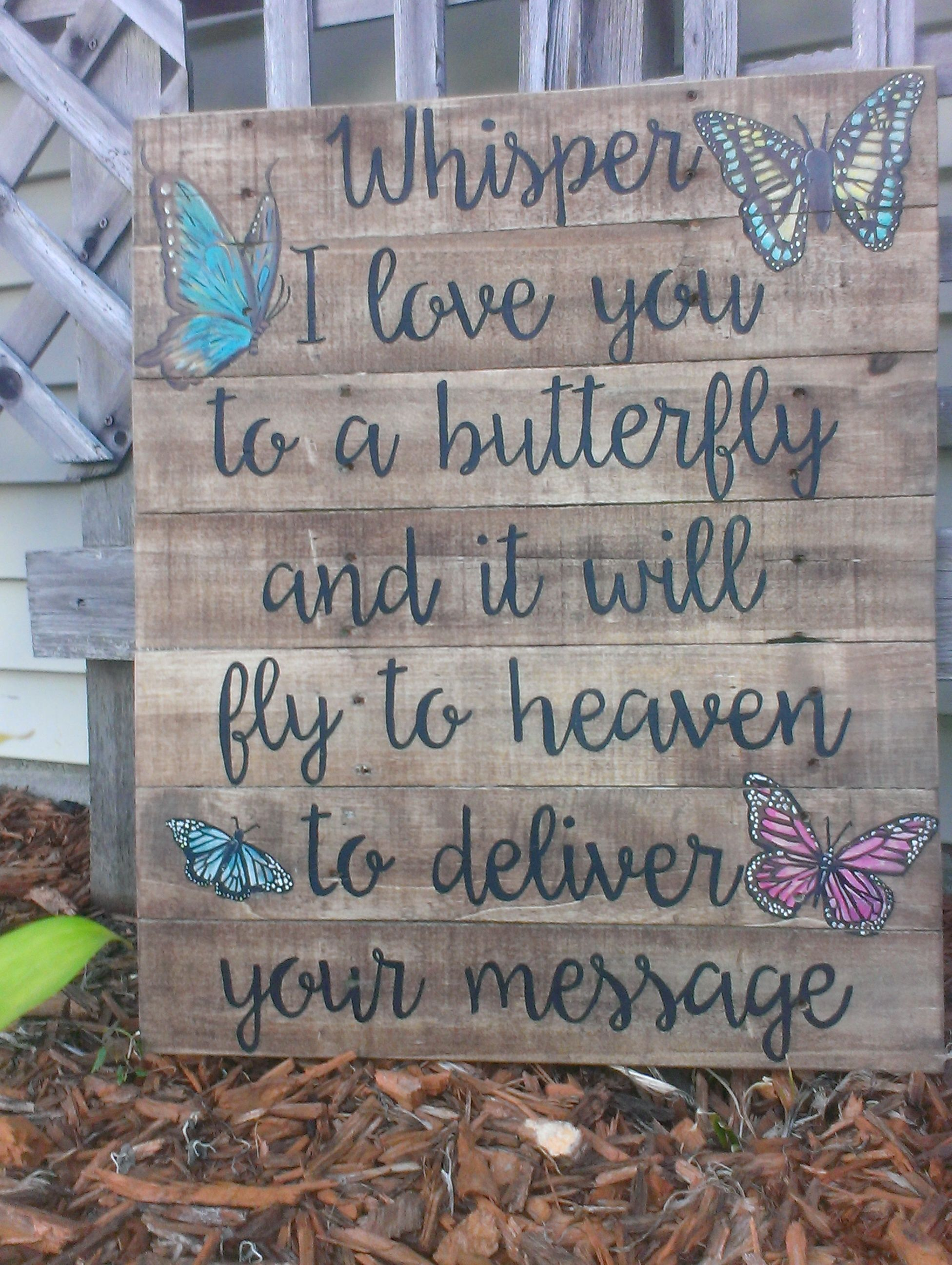 custom hand painted wood pallet sign with butterflies whisper i