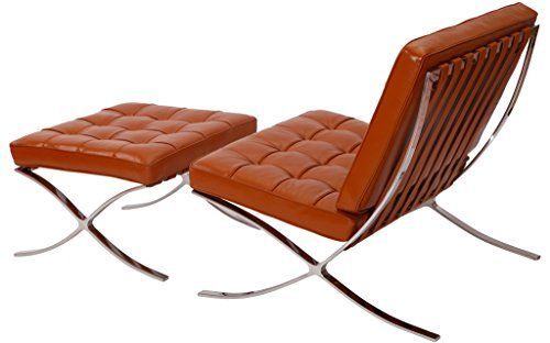 Midcentury Modern Mlf Pavilion Chair And Ottoman Premium Aniline Leather High Density Foam Cushions
