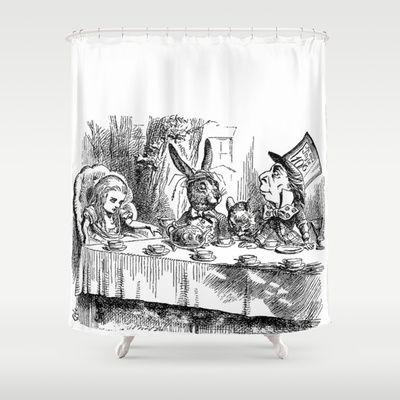 Vintage Alice In Wonderland Mad Hatter Rabbit Tea Party Antique Goth Gothic Emo Book Drawing Ar Printed Shower Curtain Shower Curtain Art Alice In Wonderland