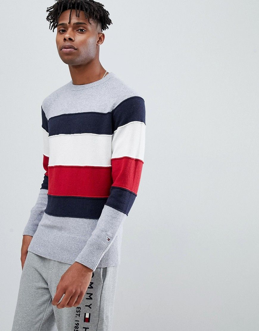 f15043a2d6a0 TOMMY HILFIGER ICON COLOR BLOCK STRIPE CREWNECK SWEATER IN GRAY MARL -  GRAY.  tommyhilfiger  cloth