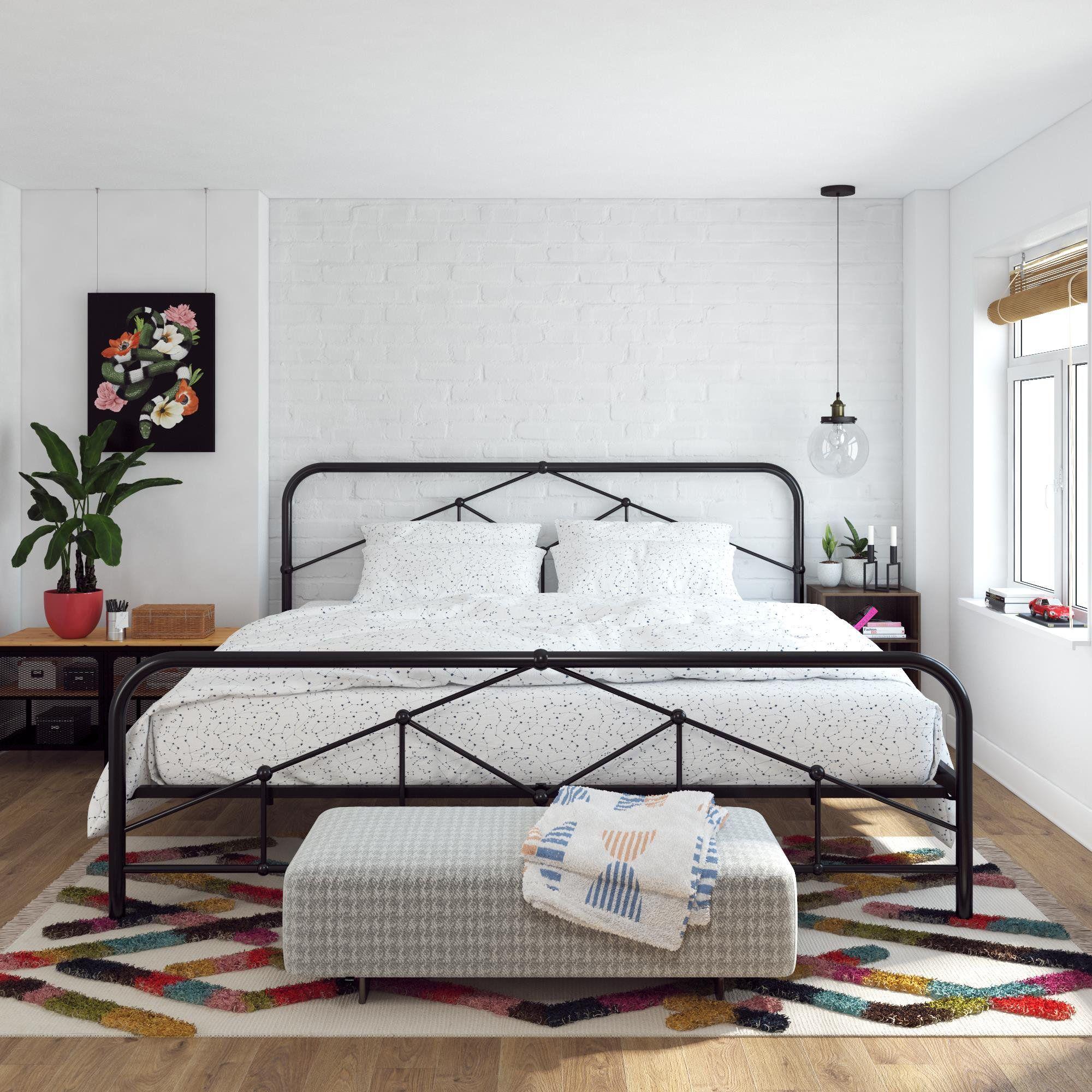 Novogratz Francis Farmhouse Metal Bed Multiple Sizes And Colors