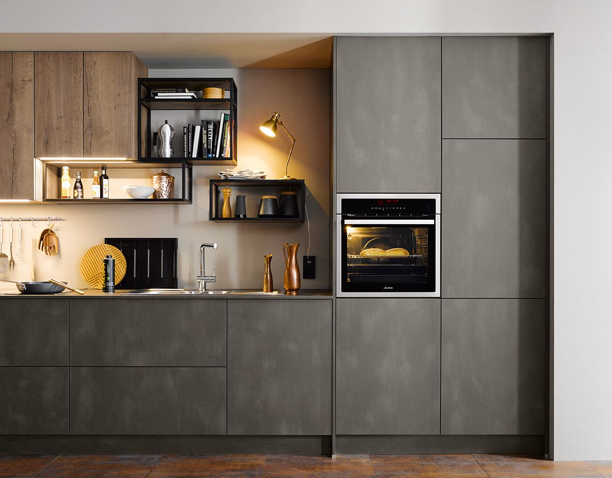 Wonderful Modern Kitchen Design Ideas By Schuller German Kitchens   Steel Dark Effect