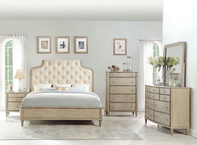 Wynsor Sophisticated Modern Bedroom Set In Antique Champagne Gold
