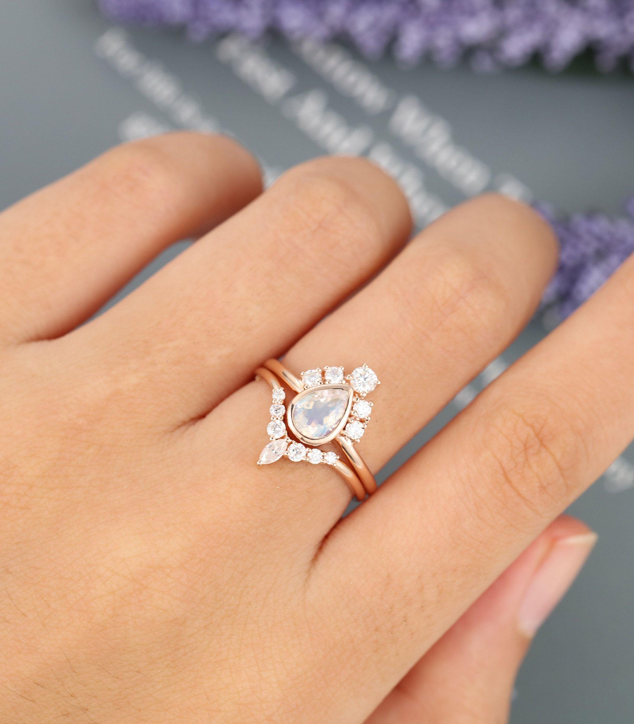 Pear shaped Moonstone engagement ring set Unique rose gold
