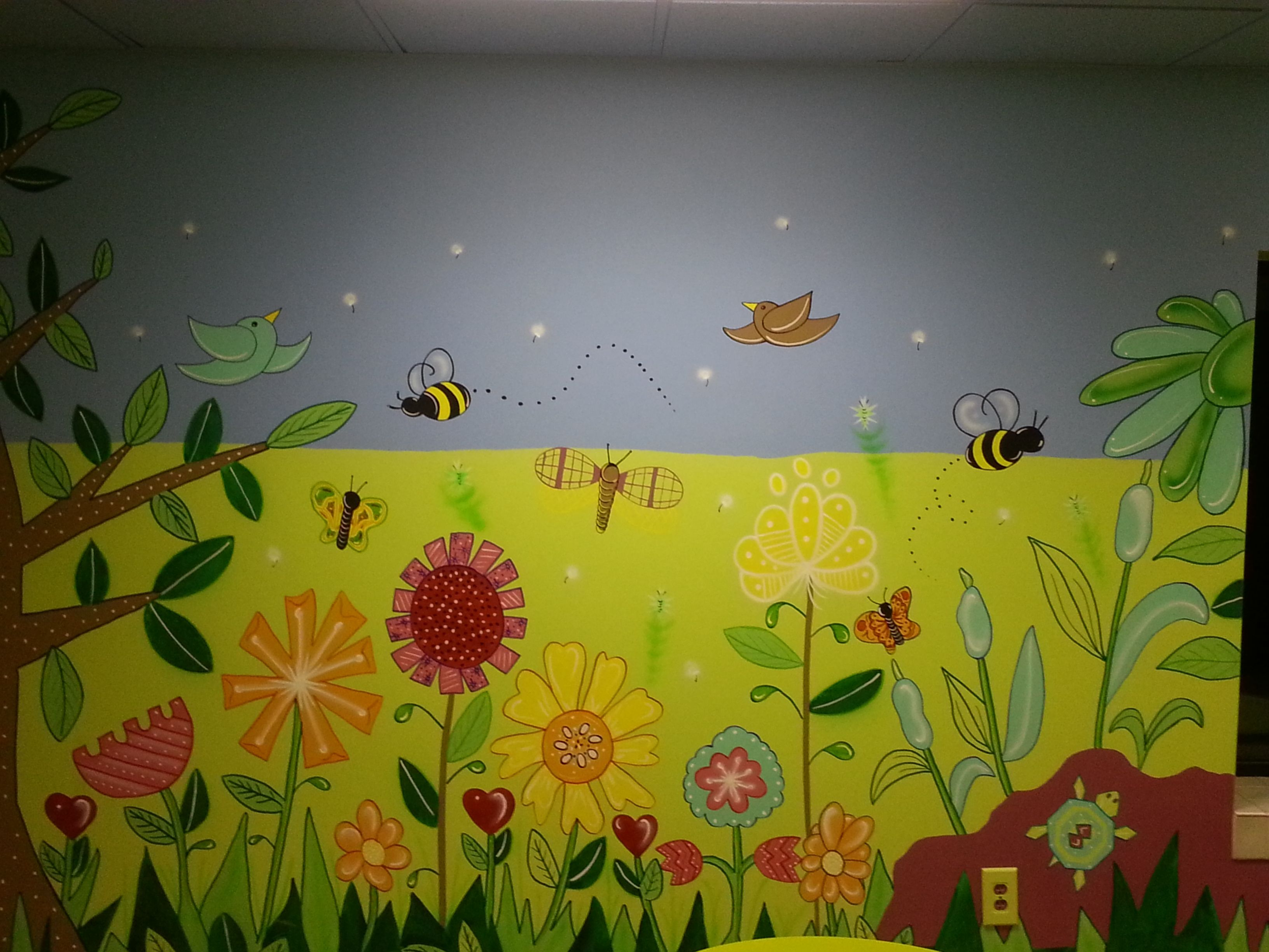 Flower garden mural painted in 2012 for a children\'s nursery ...