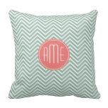 Mint and Coral Chevrons Custom Monogram Pillows