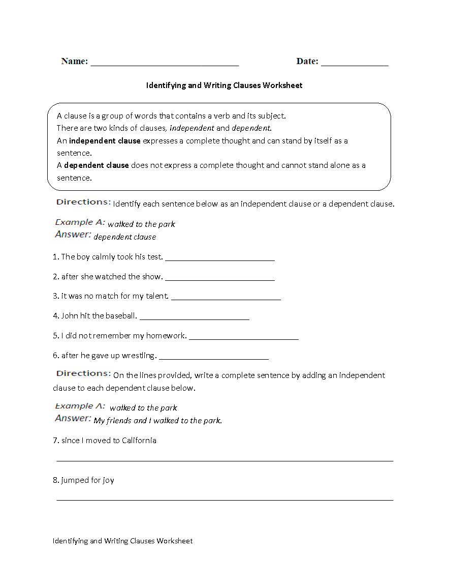 Free Worksheet Independent And Dependent Clauses Worksheet 1000 images about grammar on pinterest worksheets and writing