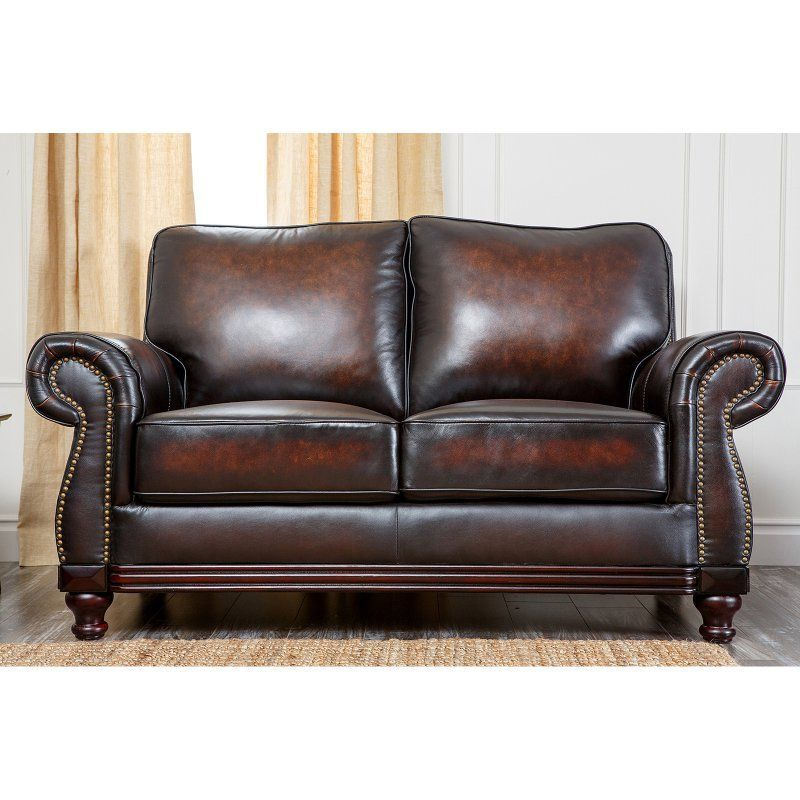 Abbyson Living Barclay Hand Rubbed Leather Loveseat - Brown - CI-N180-BRN-2