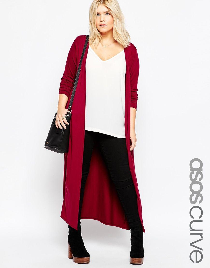 ASOS CURVE Longline Maxi Cardigan in Wine | Plus Size Fashion ...