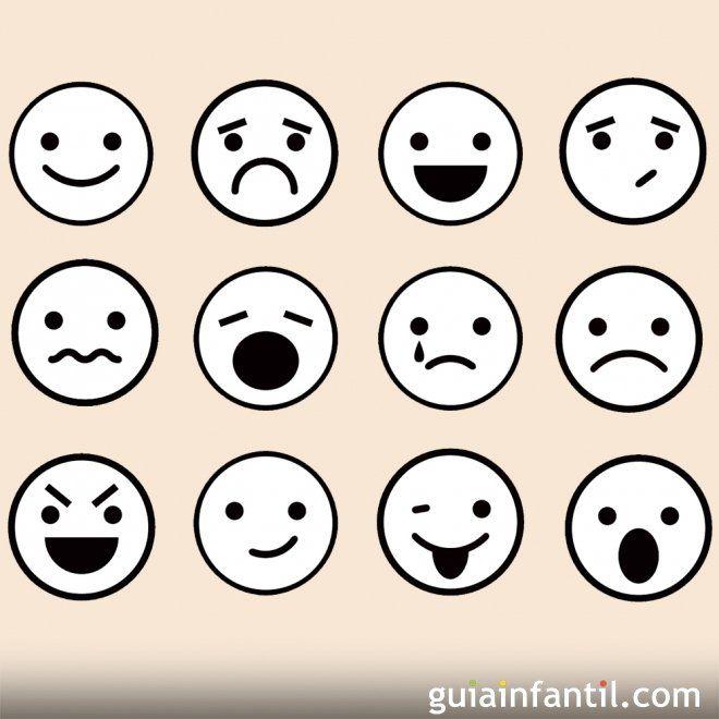Dibujos de caras de emociones para colorear con los niños ...