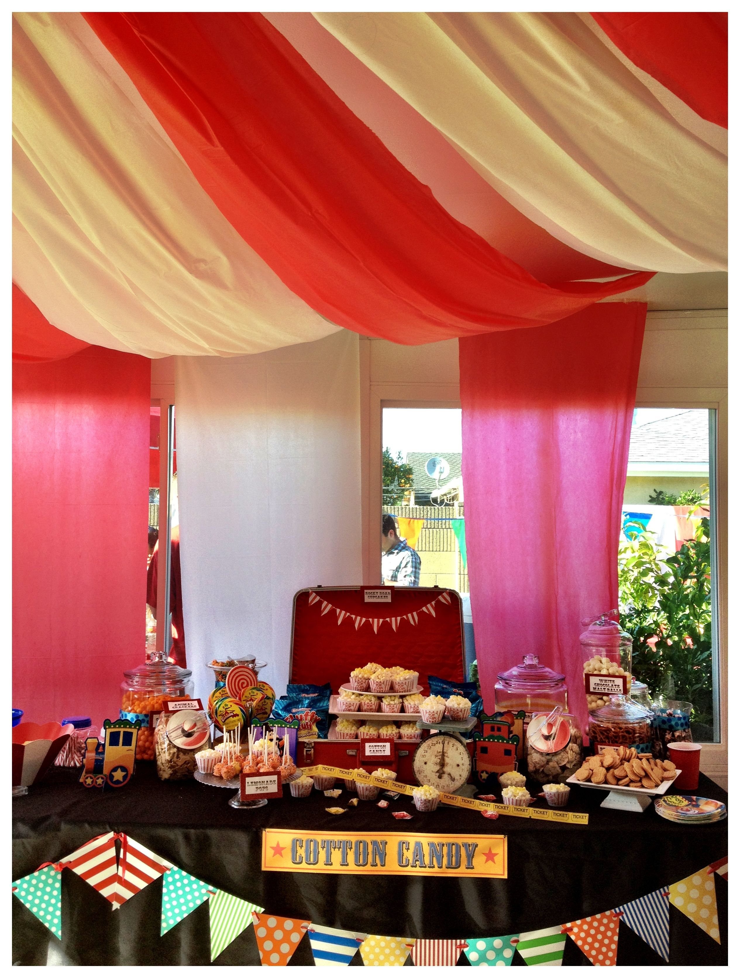 Circus theme tent decoration made out of plastic table oblong covers to match the candy bar & Circus theme tent decoration made out of plastic table oblong covers ...