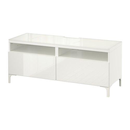 best tv bank mit schubladen wei selsviken hochglanz wei schubladenschiene sanft. Black Bedroom Furniture Sets. Home Design Ideas