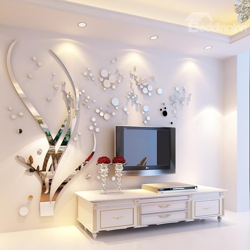 Silver Branches And Round Dots Acrylic Mirror Waterproof And Eco Friendly 3d Wall Stick Wall Stickers Bedroom Living Room Wall Designs Wall Stickers Home Decor #silver #wall #decor #for #living #room