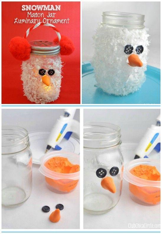Snowman Luminary - 12 Magnificent Mason Jar Christmas Decorations You Can Make Yourself