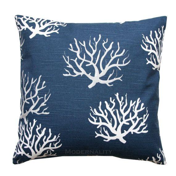 Best Premier Prints Navy Slub Isadella Coral Pillow Cover 400 x 300