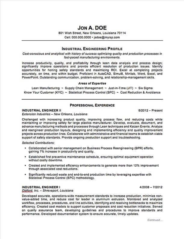 Industrial Engineering Resume Sample Professional Resume Examples Topresume In 2020 Engineering Resume Resume Examples Engineering Resume Templates