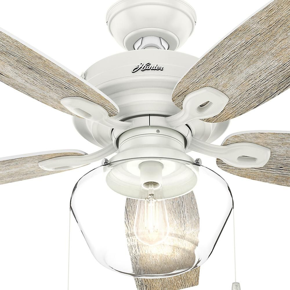 Hunter Crown Canyon 52 In Led Indoor Outdoor Fresh White Ceiling Fan 53357 The Home Depot White Ceiling Fan Ceiling Fan Rustic Ceiling Fan