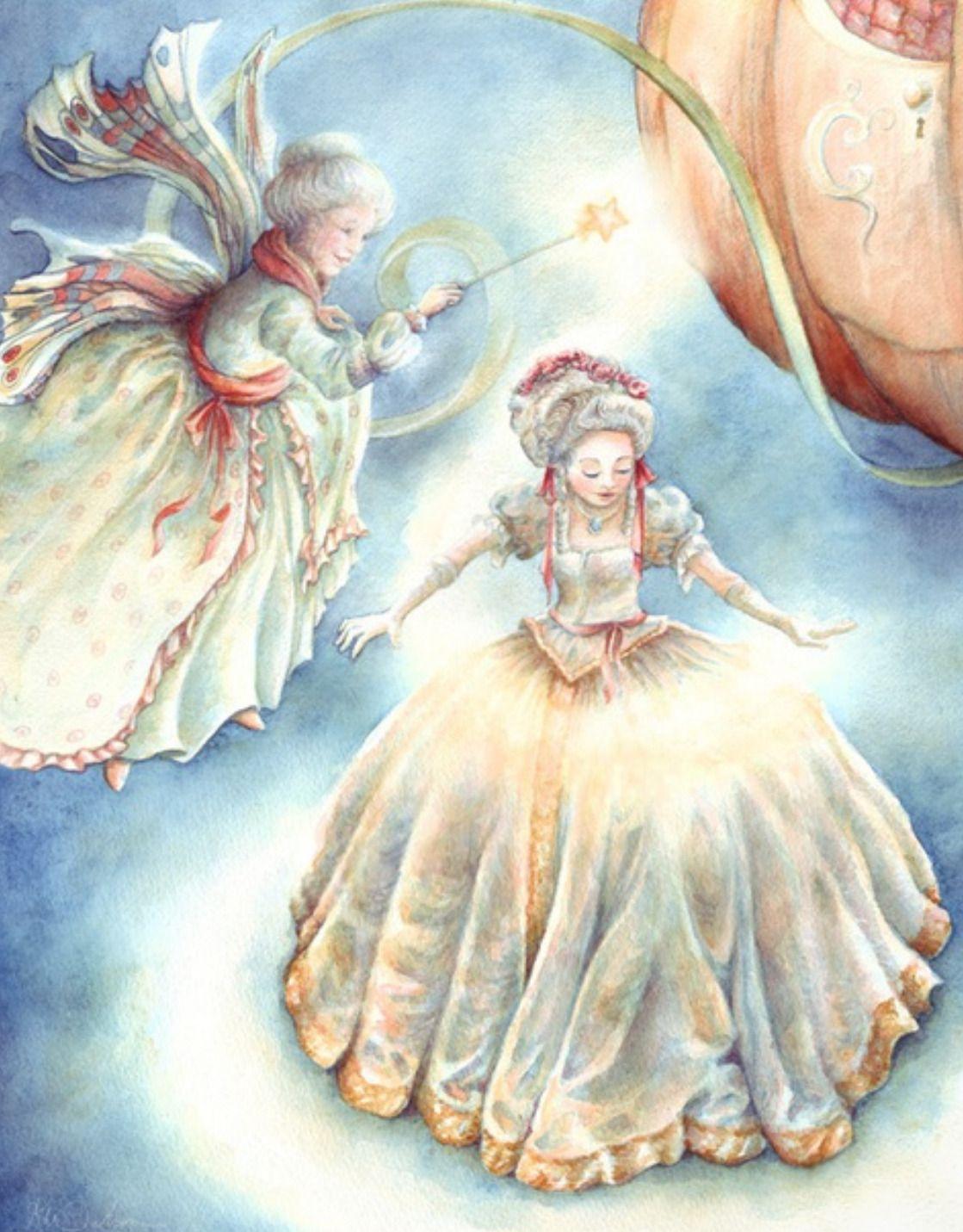 Cinderella And Her Fairy Godmother Fantasy Artwork By Karen