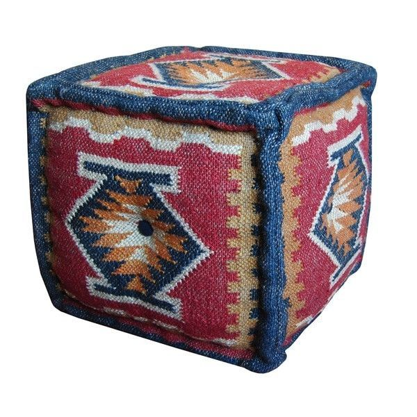 India Artisan Hand Crafted Wool Jute Pouf Footstool