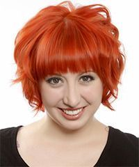 Short Wavy Formal Emo Hairstyle with Layered Bangs  Orange Hair Color,  #Bangs #Color #Emo #F…