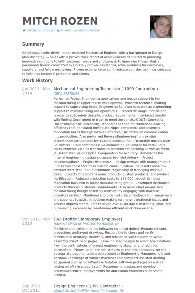 mechanical engineering technician 1099 contractor resume example - Contractor Resume Sample