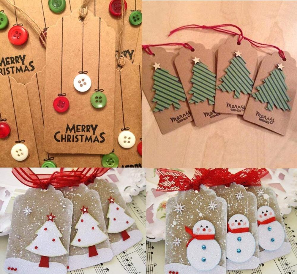 Heallily 100 Pezzi Tag di Carta Kraft Natalizia con Tag scrivibili in Pizzo Mini Tag Nome Prezzo Tag Regalo Vuoto per Natale bomboniera Festa di Compleanno