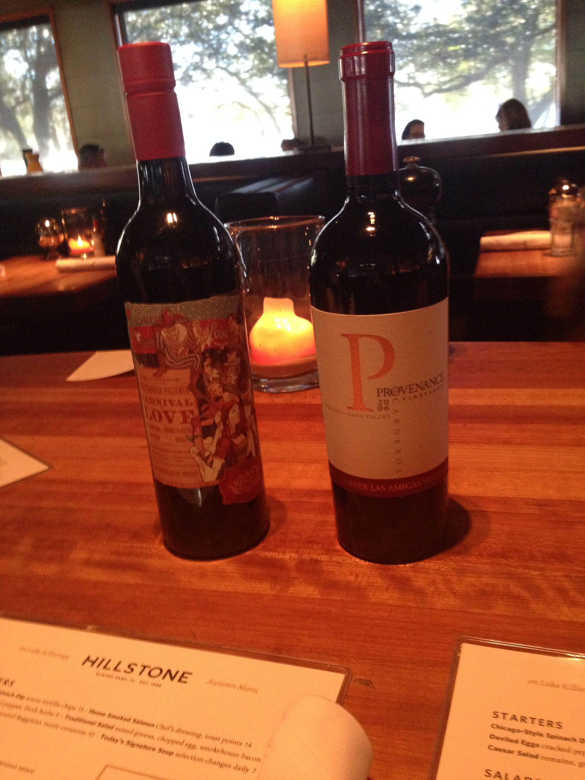 Dinner At Hillstone With 2006 Provenance Merlot And 2011 Enchanted Path Hot Spot Wine Bottle Bottle