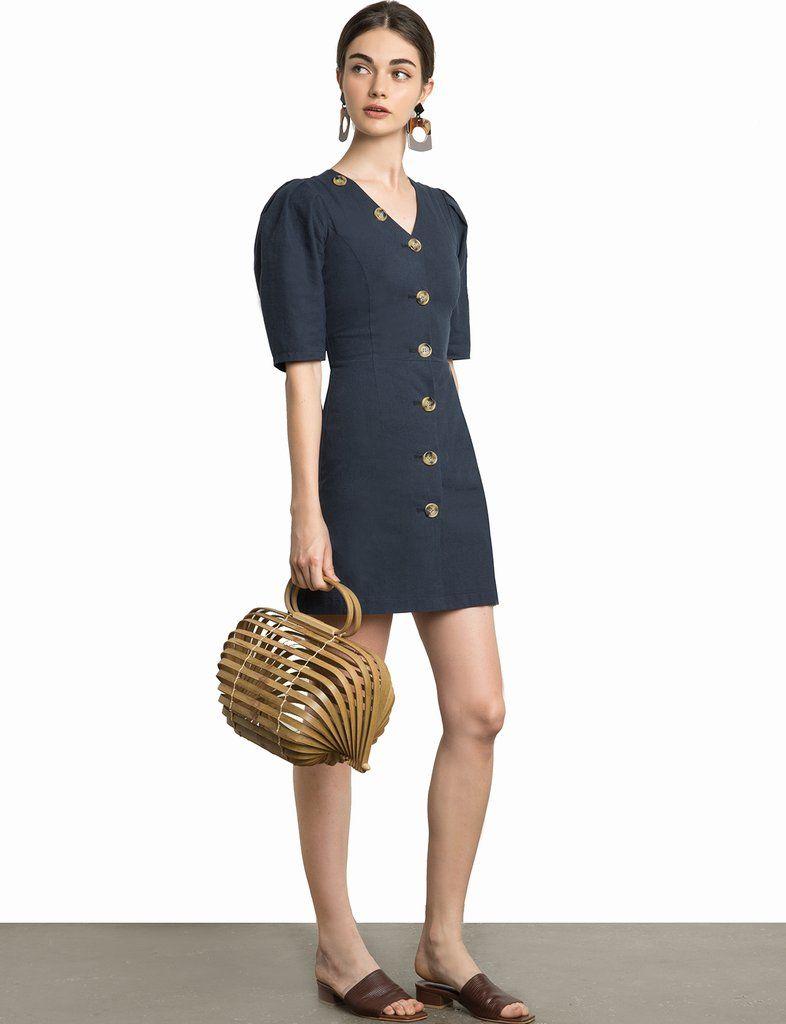 Luna button v linen dress linen dresses linens and black dark