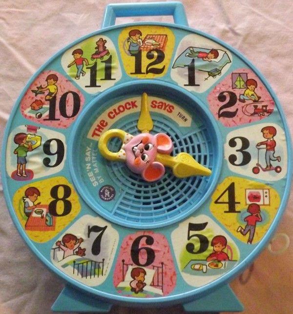 Mattel 1965 See N Say The Clock Says Vintage Toys