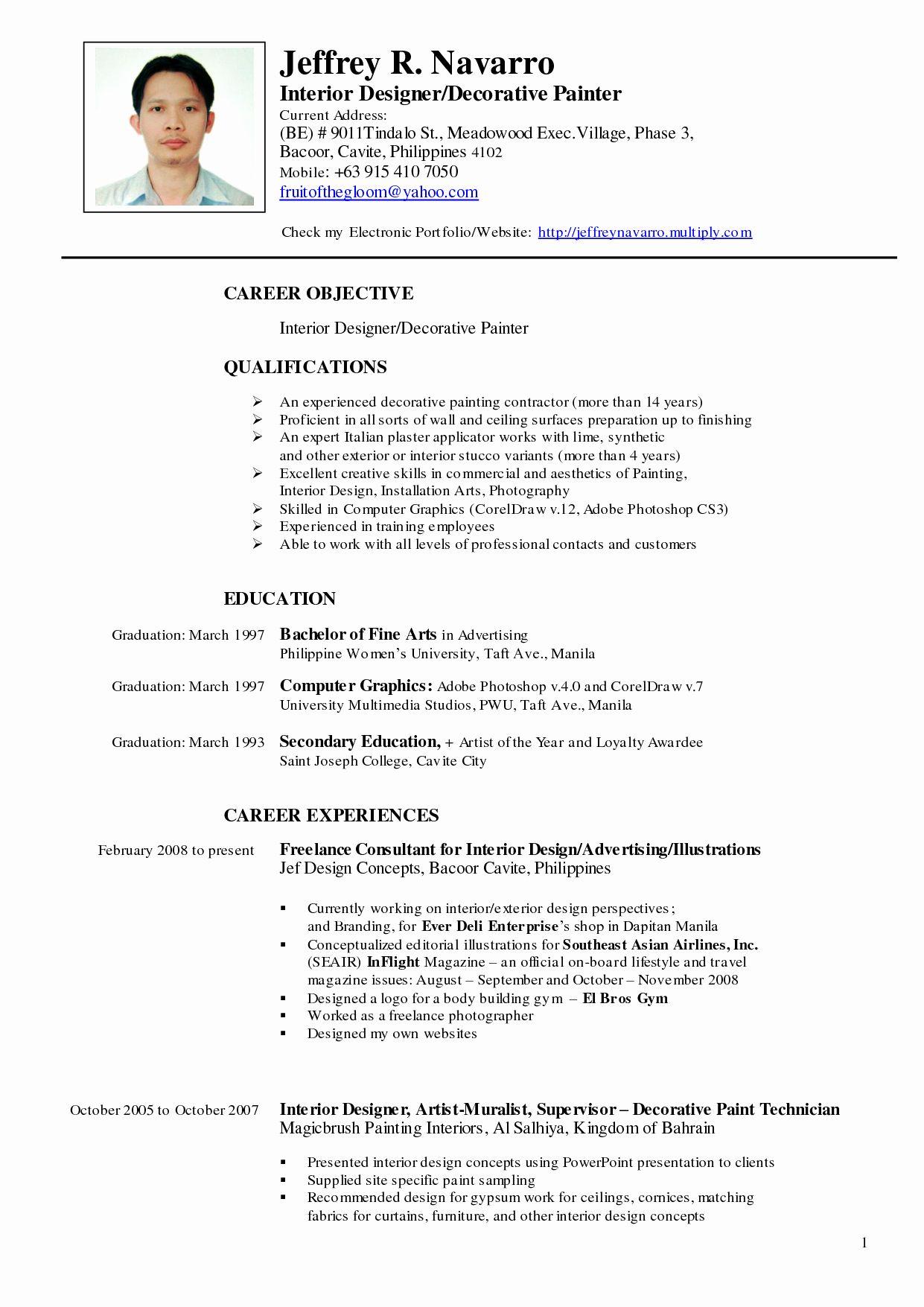 Resume Curriculum Vitae Template Luxury Cv Template Artist