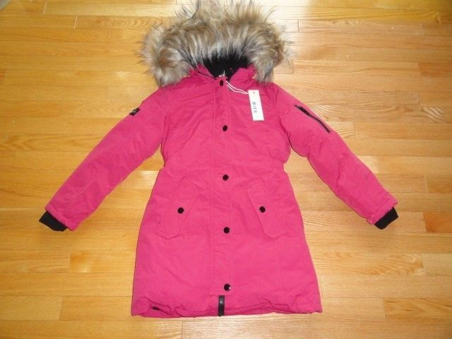 Diesel Youth Girls Heavy Winter Jacket Coat Faux Fur Trim Hood ...
