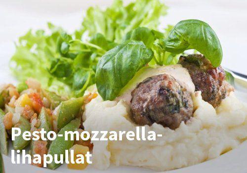 Pesto-mozzarella-lihapullat, Resepti: Hookoo #kauppahalli24 #pesto #mozzarella #lihapullat #resepti #verkkoruokakauppa #arkiruoka #ruokaideat